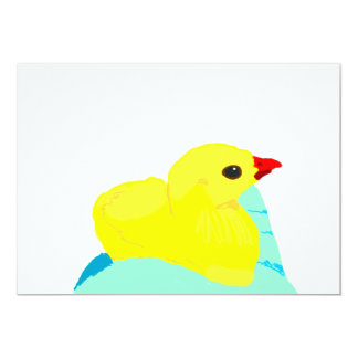 "Yellow chick blue hand children grapic kid 5"" x 7"" invitation card"