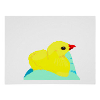 Yellow chick blue hand children grapic kid poster
