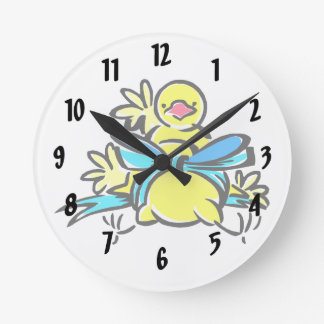 Yellow chick blue ribbon around belly.png round clock