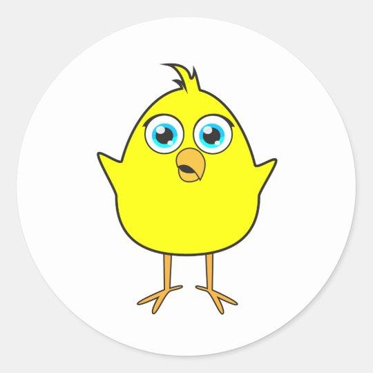 Yellow chick classic round sticker