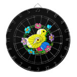 yellow chick colorful wreath of flowers.png dartboard with darts