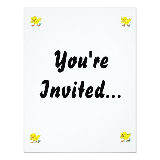 yellow chick holding flower wings up.png 4.25x5.5 paper invitation card