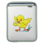 yellow chick holding flower wings up.png sleeve for iPads