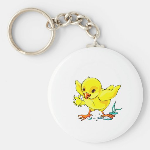 yellow chick holding flower wings up.png keychains