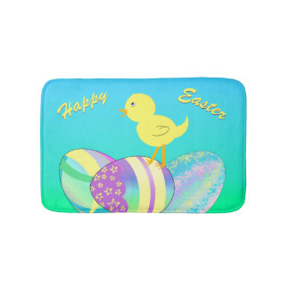 Yellow Chick with Pastel Eggs HAPPY EASTER Bathroom Mat