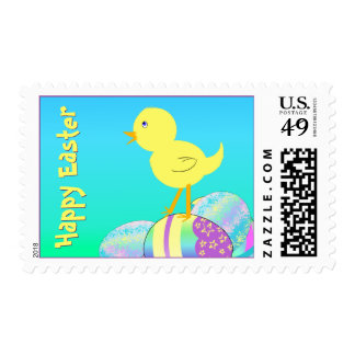 Yellow Chick with Pastel Eggs HAPPY EASTER Postage Stamp