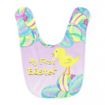 Yellow Chick with Pastel Eggs MY FIRST EASTER Baby Bib
