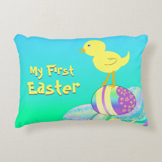 Yellow Chick with Pastel Eggs MY FIRST EASTER Decorative Pillow