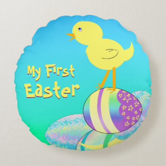 Yellow Chick with Pastel Eggs MY FIRST EASTER Round Pillow