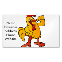 yellow chicken cartoon business card magnet