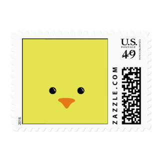 Yellow Chicken Cute Animal Face Design Stamp