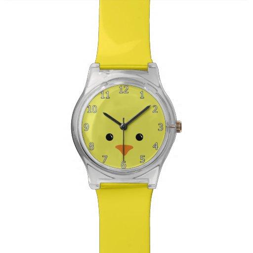 Yellow Chicken Cute Animal Face Design Wristwatches