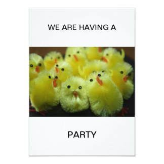 Yellow Chickens  WE ARE HAVING A  PARTY Invitation