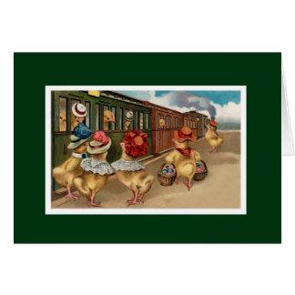 Yellow Chicks on the Train - Anthropomorphic Art Card