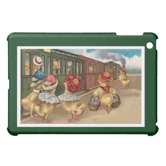 Yellow Chicks on the Train - Anthropomorphic Art iPad Mini Covers