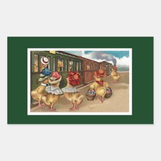 Yellow Chicks on the Train - Anthropomorphic Art Rectangular Sticker