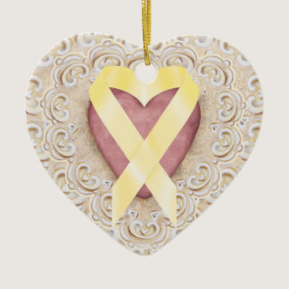 Yellow Childhood Cancer Ribbon From the Heart - SR Ceramic Ornament