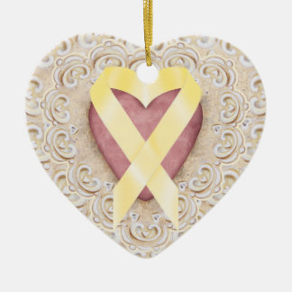 Yellow Childhood Cancer Ribbon From the Heart - SR Double-Sided Heart Ceramic Christmas Ornament