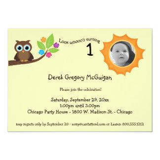 Yellow Children's Birthday Party Owl Photo Invite
