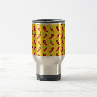 Yellow chili peppers pattern 15 oz stainless steel travel mug