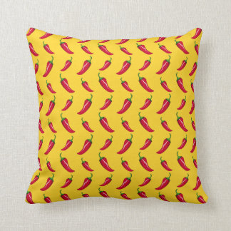 Yellow chili peppers pattern throw pillows