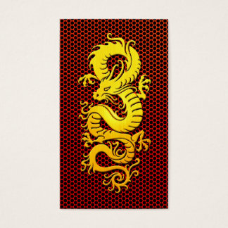 Yellow Chinese Dragon on Steel Mesh Business Card