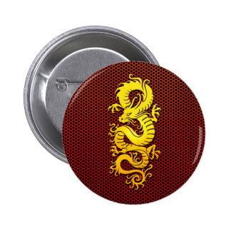 Yellow Chinese Dragon on Steel Mesh Pinback Button