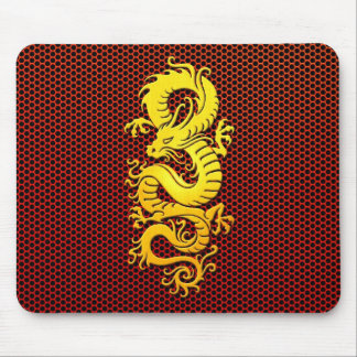Yellow Chinese Dragon on Steel Mesh Mousepads