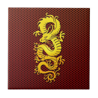 Yellow Chinese Dragon on Steel Mesh Small Square Tile