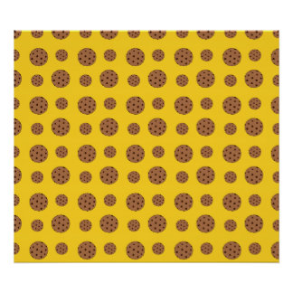 Yellow chocolate chip cookies pattern poster