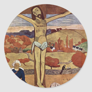 Yellow Christ by Paul Gauguin, Vintage Fine Art Classic Round Sticker