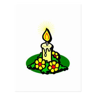 Yellow Christmas Candle Postcard
