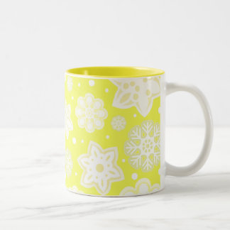 Yellow Christmas Snowflake Pattern Coffee Mugs