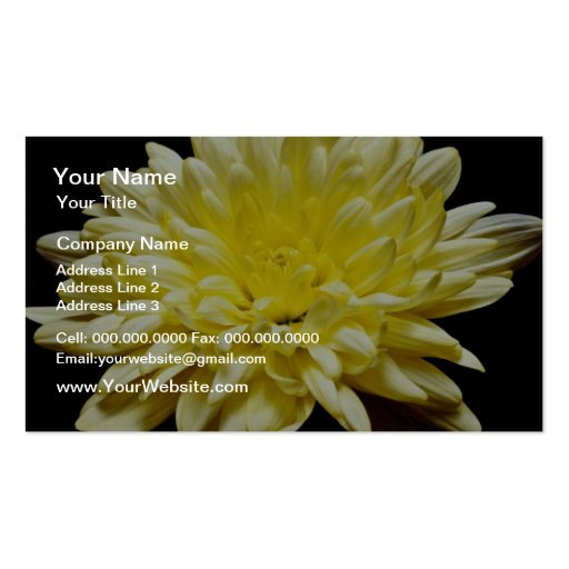 Yellow chrysanthemum  flowers Double-Sided standard business cards (Pack of 100)