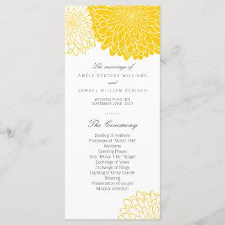 Yellow Chrysanthemum Wedding Program Rack Cards