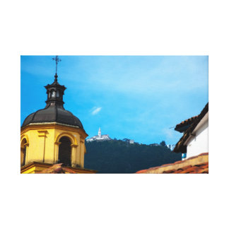 Yellow Church and Monserrate Canvas Print