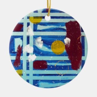 Yellow Circle Double-Sided Ceramic Round Christmas Ornament