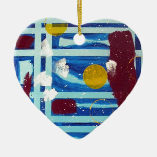 Yellow Circle Double-Sided Heart Ceramic Christmas Ornament