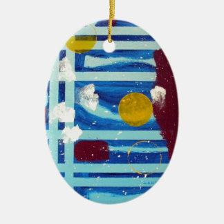 Yellow Circle Double-Sided Oval Ceramic Christmas Ornament