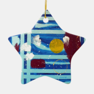 Yellow Circle Double-Sided Star Ceramic Christmas Ornament
