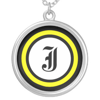 Yellow Circle Initial Round Pendant Necklace