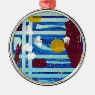 Yellow Circle Round Metal Christmas Ornament