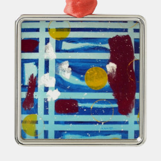 Yellow Circle Square Metal Christmas Ornament