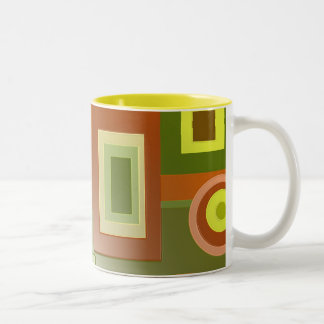 yellow circles and squares Two-Tone coffee mug