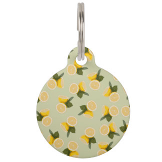 Yellow Citrus Lemon Fruit on Pale Lime Green Pet ID Tag