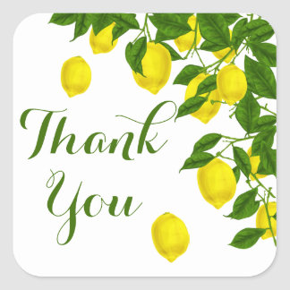 Yellow Citrus Thank You Lemon Green Wedding Party Square Sticker