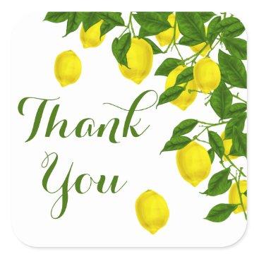 merrybrides Yellow Citrus Thank You Lemon Green Wedding Party Square Sticker