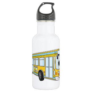 Yellow City Bus Cartoon Water Bottle
