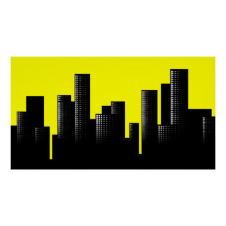 yellow cityscape poster