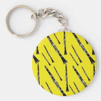 Yellow Clarinet Pattern Basic Round Button Keychain